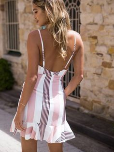 Deep V Neck Abstract Print Vertical Striped Casual Dresses Casual Dresses, Fashion Dresses, Summer Dresses, Casual Outfits, Vestido Casual, Dress Silhouette, Vacation Dresses, Striped Dress, Ruffle Dress