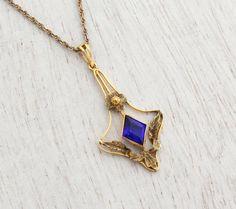Antique 10k Yellow Gold Blue Stone Necklace - Vintage Edwardian Art Nouveau Lavalier Pendant Fine Jewelry / Early 1900s Dangle
