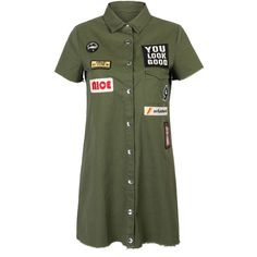 Oliver Green Patches Mini Shirt Dress (44 NZD) ❤ liked on Polyvore featuring dresses, vestidos, green cotton dress, cotton dresses, short mini dress, olive shirt dress and army green shirt dress