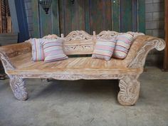 Balinese Furniture Hand Carved Recycled Teak Bench Seat Daybed Antique Rustic