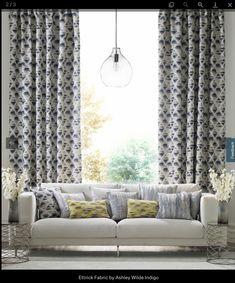 Living Room Blinds, Living Room Windows, Curtains Living, Curtain Inspiration, Living Room Decor Inspiration, Indigo Curtains, Patterned Curtains, Teal Blinds, Winter Curtains