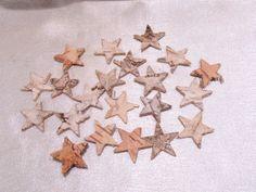 Birke, Holz,Rinde, Sterne, Bastelmaterial, 20 Stück, ca. 2cm