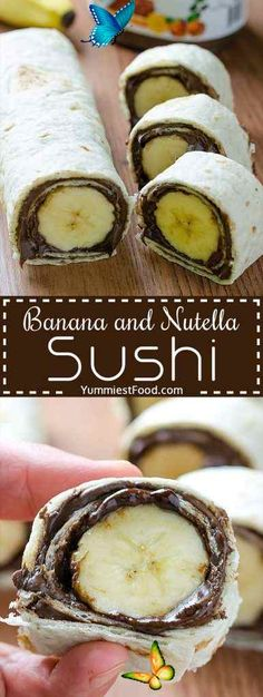 centbifunow Banana and Nutella Sushi -  Banana and Nutella Sushi – Easy and healthy snack. Kids will love this Banana and Nutella Sushi.  - #banana #Beef #Chocolates #Desserts #GlutenFree #nutella #sushi<br> Quick Snacks, Diet Snacks, Healthy Snacks For Kids, Quick Easy Meals, Snacks Kids, Gourmet Recipes, Appetizer Recipes, Snack Recipes, Healthy Recipes