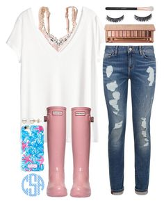 """"""""""" by sophie-dye ❤ liked on Polyvore featuring Hollister Co., H&M, Tommy Hilfiger, Hunter, Lilly Pulitzer, Urban Decay, Old Navy and Morphe"""