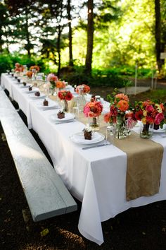 colorful centerpieces for northwest outdoor wedding at Bridal Veil Lakes, with photos by Aaron Courter Photography  | via junebugweddings.com