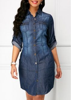 Button Up Turndown Collar Denim Dress on sale only US$35.76 now, buy cheap Button Up Turndown Collar Denim Dress at Rosewe.com