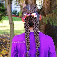 """""""Two Dutch braids that meet in the middle into two five strand braids. This X shaped style was inspired by @sweethearts_hair_design (who was inspired by @totsandtangles) but instead of a pull-through braid I did three and five strand Dutch braids. I added ribbon where the braids meet in the middle and thought it looked so cute! """" Photo taken by @thebraidparadenj on Instagram, pinned via the InstaPin iOS App! http://www.instapinapp.com (11/09/2015)"""