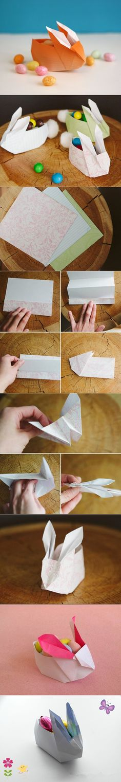 Panier d'origami de lapin de Pâques bricolage pour des bonbons – si mignon! – Origami Community : Explore the best and the most trending origami Ideas and easy origami Tutorial Diy Origami, Bunny Origami, Origami And Kirigami, Origami Tutorial, Origami Paper, Diy Tutorial, Oragami, Origami Flower, Diy For Kids