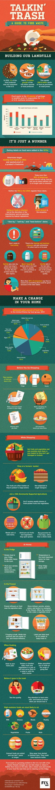 A common sense guide for curbing food waste This infographic is a perfect reminder that you don't have to throw out as much as you think. Recycling Facts, World Hunger, Food Security, Sustainable Food, Sustainable Living, Food System, Bad Food, Common Sense, Food Design
