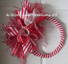 Candy Cane Inspired Spiral Deco Mesh Wreath