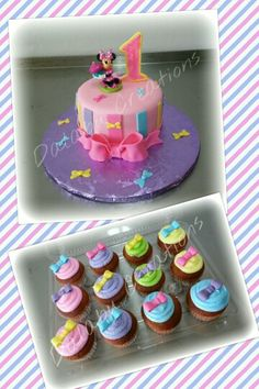 Minnie Mouse Boutique Cake with Cupcakes
