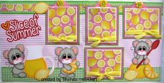Summer Lemon Mice TWO page 12x12 premade scrapbook pages Rhonda rm613art