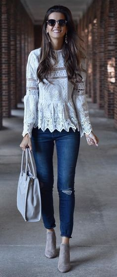 #fall #outfits women's white floral knit long-sleeved top