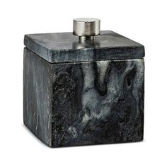 Canister Black Marble ($13) ❤ liked on Polyvore featuring home, bed & bath, bath, bath accessories, bath canister, bath coordinates, black shelving, marble bath accessories, marble bathroom accessories and black bath accessories