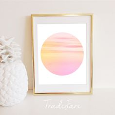 Sunset Print Circle Instant Download Pink Wall Art by TradeFare