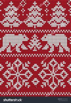 Stockvektor 526065460 med Knitted Christmas New Year Pattern (royaltyfri) Knitted Mittens Pattern, Fair Isle Knitting Patterns, Christmas Knitting Patterns, Knitting Charts, Knitting Stitches, Baby Knitting, Crochet Motifs, Crochet Chart, Scrappy Quilts