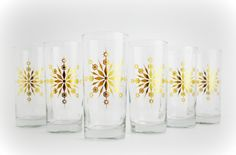 Drinking Glasses With Golden Snowflakes - Set Of 6 by Mary Elizabeth Arts on Gourmly