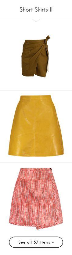 """Short Skirts II"" by styleundone ❤ liked on Polyvore featuring skirts, mini skirts, khaki, wrap skirt, cotton skirts, khaki mini skirt, brown pleated skirt, short wrap skirt, short a line skirt and yellow mini skirt"