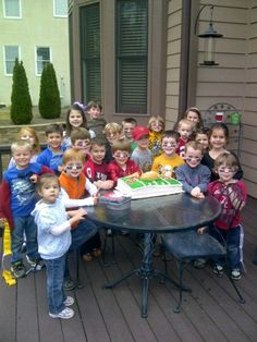 Brent and his friends about to have cake. 6th birthday.