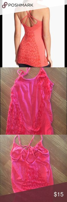 Zella workout tank top Double strapped backed tank top.  Form fitting built in bra.  Worn a few times to workout in. Like new condition. Zella Tops Tank Tops