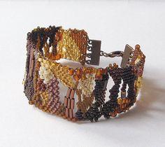 Freeform peyote bracelet, Beaded jewelry, Beadwork bracelet, Bead bracelet, Seed bead jewelry, Brown bracelet,   brown, honey, copper