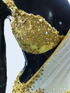 White and Gold Latin Dance Dress Dance Dress от DesignByNatasha
