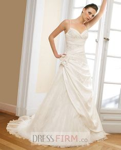 Luxurious Style Embroider Spaghetti Straps Flower Organza Satin Sweetheart Wedding Dress for Brides [NWD0010] - $ 175.99 :