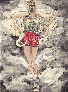 Lucio Palmieri - Cleopatra    클레오파트라. 그녀는 여왕답게 화려한 왕관과 화려한 패션으로 지옥에서도 당당한 미모를 과시한다. 돌채앤가바나를 입은 흑인 모델이 아닌, 세계의 원조 미녀 클레오파트라이다.
