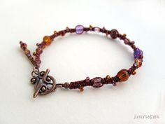 Purple & Brown Bracelet, Macrame Bracelet, Knotted Bracelet £14.99