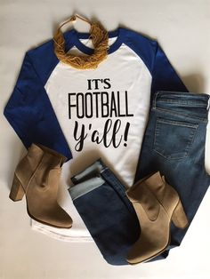 It's Football Y'all! Root for your favorite football team this season with our adorable football raglans! Customize your shirt colors for your favorite NFL, College, or High School team! Football Outfits, Football Shirts, Sports Shirts, Baseball Gear, Football Fashion, Fall Football, Football Season, Football Team, Football Girlfriend