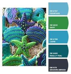 Sea shells and starfish cookies in blues, greens, and turquoise colors | CNH | ColorSnap