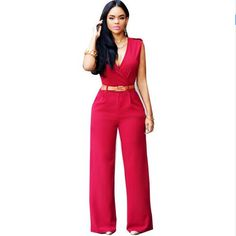 1bb7ed7e37a7 Women Wide Leg Pants Jumpsuit Sleeveless V Neck Rompers Full Length Casual  Monos Belted Clubwear Bandage Bodysuit 10 Colors-in Jumpsuits from Women s  ...