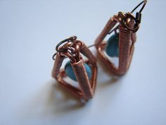 copper 3d pzramid earrings with turquoises