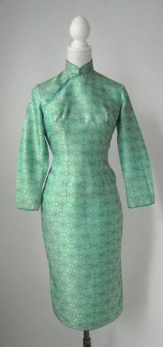 Lagerverkauf Jahrgang grünes Kleid Vintage Cheongsam von SLVintage