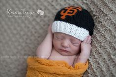 San Francisco Giants Baby Beanie in Black with by babyknitsnfrills, $14.00