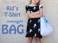 Do you have a stack of your kids' t-shirts that are too small to wear? Try to turn a t-shirt into a bag for your kid's belongings.