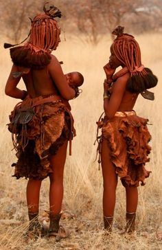 Africa | Himba women, Namibia | ©unknown, no details provided at the source. #world #cultures