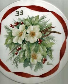 China painting study of Christmas Roses and Holly by china painting teacher and porcelain artist, Charlene Ferrell Whitler