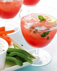 Watermelon Lemonade (2 lemons, quartered  1 cup fresh mint leaves  1/2 cup packed light-brown sugar  1/2 medium seedless watermelon (about 9 pounds), rind removed, flesh cut into chunks  1 cup vodka)