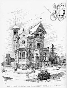 Design for a villa, palermo architectural drawings watercolo Plans Architecture, Architecture Drawings, Gothic Architecture, Historical Architecture, Architecture Details, Classical Architecture, Victorian House Plans, Victorian Homes, Art Nouveau