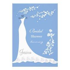 Blue Bridal Shower Invitation #bluebridalshower #weddingdress