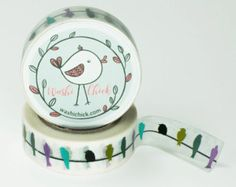 Washi Tape - Birds on Wire, 1 roll, 15 mm x 10 meters, semi-transparent, decorative masking tape, planner tape