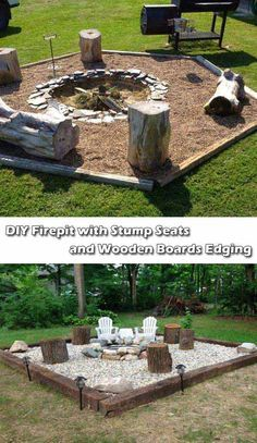 Garden fire pit 7 outdoor kitchen ideas for the best summer yet 3 rustic outdoor fire . Diy Fire Pit, Fire Pit Backyard, Backyard Patio, Backyard Landscaping, Landscaping Ideas, Landscaping Edging, Modern Landscaping, Fire Pit Plans, Fire Pit Furniture