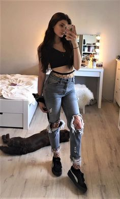 Black crop top with necklace, oversized fishnet stockings, distressed denim jeans & platform sneakers by vanessa.csk
