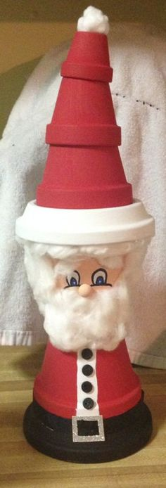 Santa Claus Clay Pot - his hat may be a little too tall.  Lol