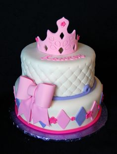 princess themed cakes for girls | Princess themed girls birthday cake in pink and purple fondant with ...