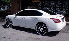 Lexani Wheels, the leader in custom luxury wheels.  White 2011 Nissan Maxima with machine and black LSS-10