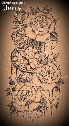 Resultado de imagem para pocket watch with roses #beautytatoos
