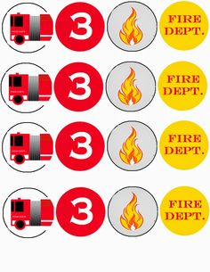 Free Printable Firetruck Birthday Cupcake Toppers