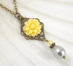 Simple Gray and Yellow Wedding Flower Bridesmaids Necklace Reserved for Ally